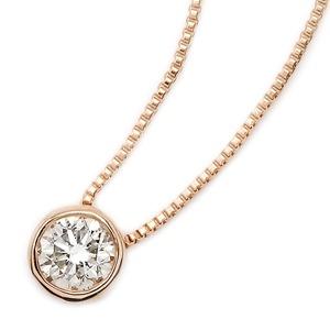 ダイヤモンド ネックレス 一粒 0.15ct K18 ピンクゴールド Nudie Heart Plus(ヌーディーハートプラス) 人気の覆輪留 ペンダント - 拡大画像
