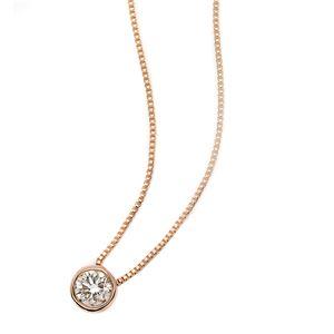 ダイヤモンド ネックレス 一粒 0.1ct K18 ピンクゴールド Nudie Heart(ヌーディーハート) 人気の覆輪留 ペンダント - 拡大画像