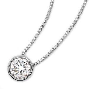 ダイヤモンド ネックレス 一粒 0.1ct K18 ホワイトゴールド ペンダント Nudie Heart(ヌーディーハート) 人気の覆輪留 ペンダント - 拡大画像