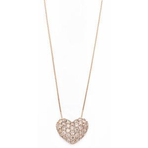 ダイヤモンド ネックレス 0.5ct K18 ピンクゴールド ハート ダイヤパヴェネックレス 0.5カラット ハートパヴェ ペンダント - 拡大画像