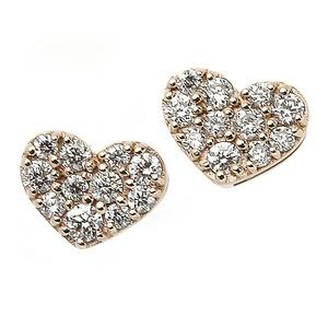 ダイヤモンド ピアス K18 ピンクゴールド 0.1ct ハート パヴェピアス 0.1カラット ハートパヴェ - 拡大画像