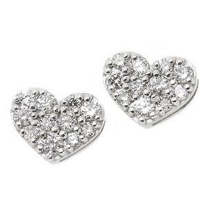 ダイヤモンド ピアス K18 ホワイトゴールド 0.1ct ハート パヴェピアス 0.1カラット ハートパヴェ - 拡大画像
