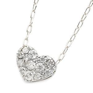ダイヤモンド ネックレス K18 ホワイトゴールド 0.15ct ハート ダイヤパヴェネックレス ペンダント - 拡大画像