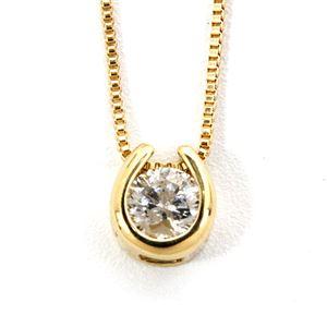 K18イエローゴールド 天然ダイヤモンドペンダント/ネックレス ダイヤ0.1CT - 拡大画像