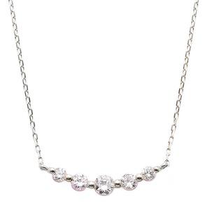 ダイヤモンド ネックレス K18 ホワイトゴールド 0.3ct 5粒 5ストーン ダイヤネックレス 0.3カラット ペンダント - 拡大画像
