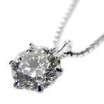 ダイヤモンドペンダント/ネックレス 一粒 プラチナ Pt900 0.5ct ダイヤネックレス 6本爪 Dカラー SI2クラス Excellent エクセレント 0.5カラット 鑑定書付き