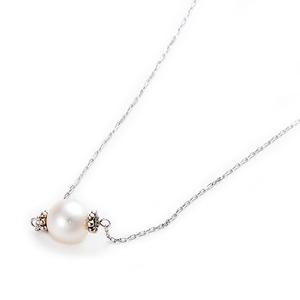アコヤ真珠 ネックレス K10 ホワイトゴールド 約7mm 約7ミリ 40cm 長さ調節可能(アジャスター付き) 真珠 あこや真珠 - 拡大画像