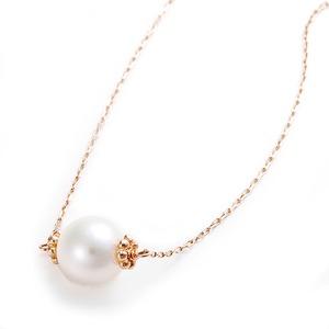 あこや真珠 ネックレス K10 ピンクゴールド 約7mm 約7ミリ 40cm 長さ調節可能(アジャスター付き) 真珠 あこや真珠 - 拡大画像