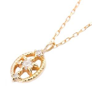 K10イエローゴールド 天然ダイヤモンドペンダント/ネックレス ダイヤ0.04ct アンティーク調 - 拡大画像