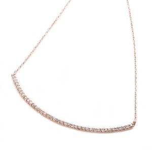 K10ピンクゴールド 天然ダイヤモンドペンダント/ネックレス 0.2ct(40石) 大人気デコルテラインデザイン 40cm 長さ調節可能(アジャスター付き) - 拡大画像