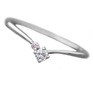 【鑑別書付】プラチナPT950 天然ダイヤリング 指輪 ダイヤ0.05ct ピンクダイヤ0.01ct 11.5号 V字モチーフ - 拡大画像