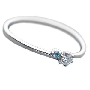 【鑑別書付】プラチナPT950 天然ダイヤリング 指輪 ダイヤ0.05ct アイスブルーダイヤ0.01ct 9.5号 V字モチーフ - 拡大画像