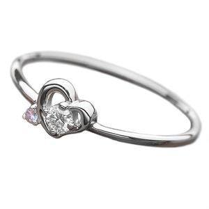 【鑑別書付】プラチナPT950 天然ダイヤリング 指輪 ダイヤ0.05ct アイスブルーダイヤ0.01ct 11.5号 ハートモチーフ - 拡大画像