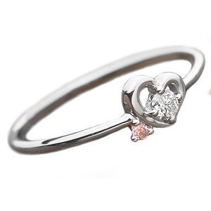 【鑑別書付】プラチナPT950 天然ダイヤリング 指輪 ダイヤ0.05ct ピンクダイヤ0.01ct 13号 ハートモチーフ - 拡大画像