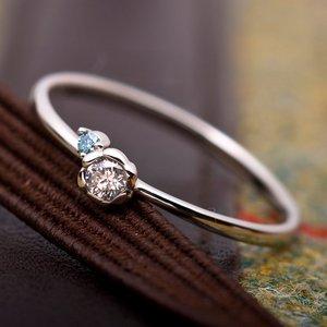 【鑑別書付】プラチナPT950 天然ダイヤリング 指輪 ダイヤ0.05ct アイスブルーダイヤ0.01ct 10.5号 フラワーモチーフ - 拡大画像