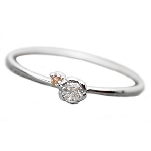 ダイヤモンド リング ダイヤ ピンクダイヤ 合計0.06ct 9号 プラチナ Pt950 花 フラワーモチーフ 指輪 ダイヤリング 鑑別カード付き - 拡大画像