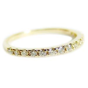 【鑑別書付】K18イエローゴールド 天然ダイヤリング 指輪 ダイヤ0.20ct 10号 ハーフエタニティリング - 拡大画像