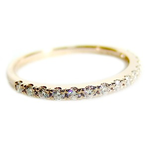 【鑑別書付】K18ピンクゴールド 天然ダイヤリング 指輪 ダイヤ0.20ct 10号 ハーフエタニティリング - 拡大画像
