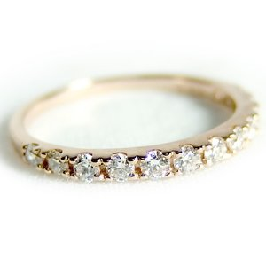 ダイヤモンド リング ハーフエタニティ 0.3ct 10.5号 K18 ピンクゴールド ハーフエタニティリング 指輪 - 拡大画像