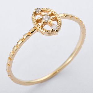 K10イエローゴールド 天然ダイヤリング 指輪 ダイヤ0.04ct 12号 アンティーク調 - 拡大画像