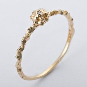 K10イエローゴールド 天然ダイヤリング 指輪 ダイヤ0.01ct 10号 アンティーク調 フラワーモチーフ - 拡大画像