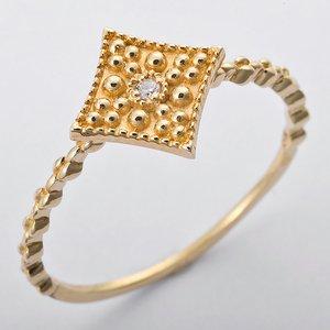 K10イエローゴールド 天然ダイヤリング 指輪 ダイヤ0.01ct 11号 アンティーク調 スクエアモチーフ - 拡大画像