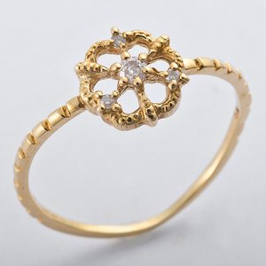 K10イエローゴールド 天然ダイヤリング 指輪 ダイヤ0.05ct 8号 アンティーク調 フラワーモチーフ - 拡大画像