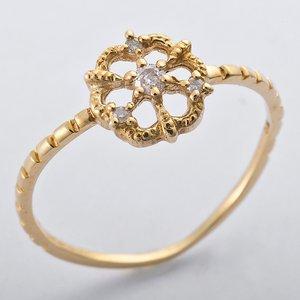 K10イエローゴールド 天然ダイヤリング 指輪 ダイヤ0.05ct 9.5号 アンティーク調 フラワーモチーフ - 拡大画像