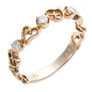 K10イエローゴールド 天然ダイヤリング 指輪 ダイヤ0.10ct 11.5号 アンティーク調 プリンセス ハートモチーフ - 拡大画像