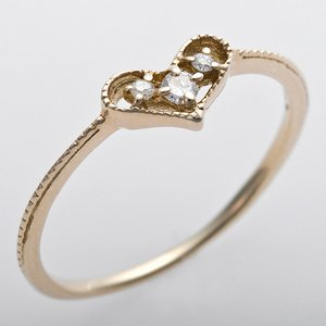 K10イエローゴールド 天然ダイヤリング 指輪 ピンキーリング ダイヤモンドリング 0.03ct 3.5号 アンティーク調 プリンセス ハートモチーフ - 拡大画像