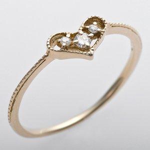 K10イエローゴールド 天然ダイヤリング 指輪 ピンキーリング ダイヤモンドリング 0.03ct 4号 アンティーク調 プリンセス ハートモチーフ - 拡大画像