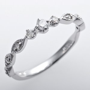 ダイヤモンド ピンキーリング K10ホワイトゴールド 4.5号 ダイヤ0.09ct アンティーク調 プリンセス - 拡大画像