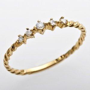 K10イエローゴールド 天然ダイヤリング 指輪 ダイヤ0.06ct 8号 アンティーク調 プリンセス - 拡大画像