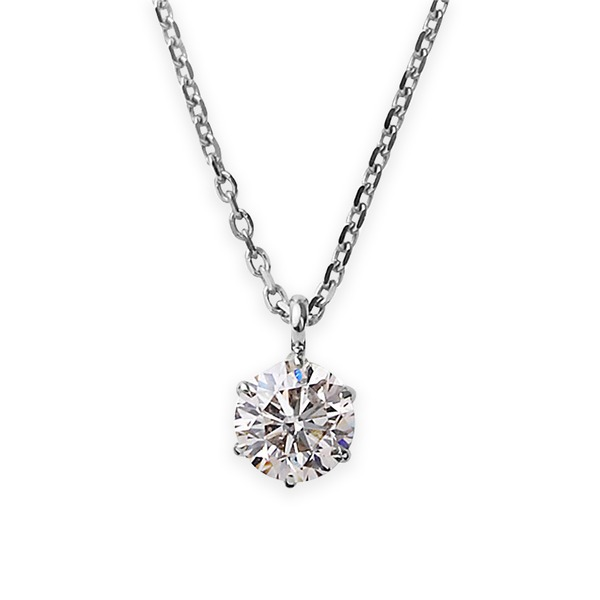 ダイヤモンドペンダント/ネックレス 一粒 プラチナ Pt900 0.4ct ダイヤネックレス 6本爪 Kカラー I1クラス Poor 中央宝石研究所ソーティング済み