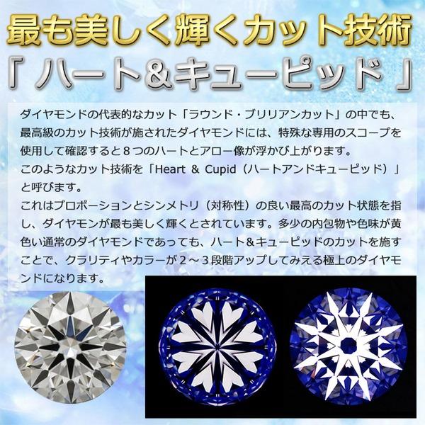 一粒ダイヤモンドペンダント/ネックレス Pt900 0.5ct Dカラー SI2 Excellent ハート&キューピット 鑑定書付きのポイント5