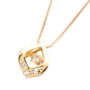 ダイヤモンドペンダント/ネックレス 一粒  K18 イエローゴールド 0.1ct ダンシングストーン ダイヤモンドスウィングネックレス 揺れるダイヤが輝きを増す☆ 雫モチーフ 揺れる ダイヤ - 拡大画像
