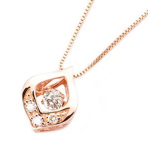 ダイヤモンド ネックレス K18 ピンクゴールド 0.1ct ダンシングストーン ダイヤモンドスウィング 雫モチーフ 一粒 揺れるダイヤ ペンダント 鑑別カード付き - 拡大画像