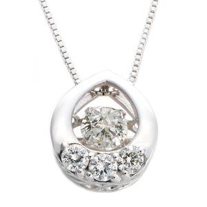 ダイヤモンドペンダント/ネックレス 一粒 K18 ホワイトゴールド 0.2ct ダンシングストーン ダイヤモンドスウィングネックレス 揺れるダイヤが輝きを増す 雫モチーフ 揺れる ダイヤ 鑑別書付き - 拡大画像