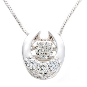 ダイヤモンドペンダント/ネックレス 一粒 K18 ホワイトゴールド 0.2ct ダンシングストーン ダイヤモンドスウィングネックレス 揺れるダイヤが輝きを増す 馬てい 馬蹄モチーフ 揺れる ダイヤ 鑑別書付き - 拡大画像