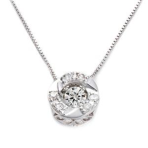 ダイヤモンドペンダント/ネックレス 一粒 K18 ホワイトゴールド 0.2ct ダンシングストーン ダイヤモンドスウィングネックレス 揺れるダイヤが輝きを増す サークルモチーフ 揺れる ダイヤ 鑑別書付き - 拡大画像