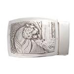 ベルトバックル 虎 トラ 3.5cmベルト幅用 絵柄 銀製 古美仕上げ 日本伝統工芸品 ハンドメイド スターリングシルバー 縁起物 御守 厄除け 開運招福