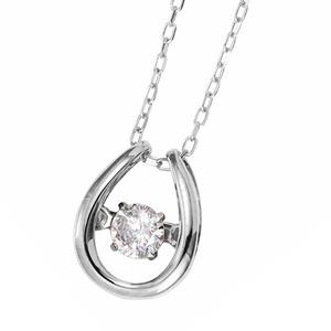 ダイヤモンドペンダント/ネックレス 一粒 K18 ホワイトゴールド 0.08ct ダンシングストーン ダイヤモンドスウィングネックレス 揺れるダイヤが輝きを増す☆ 馬蹄モチーフ 揺れる ダイヤ - 拡大画像