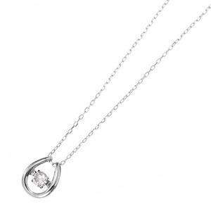 ダイヤモンドペンダント/ネックレス 一粒 K18 ホワイトゴールド 0.08ct ダンシングストーン ダイヤモンドスウィングネックレス 揺れるダイヤが輝きを増す☆ 馬蹄モチーフ 揺れる ダイヤ