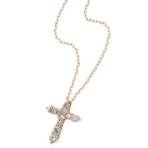 ダイヤモンドペンダント/ネックレス 10粒 0.2ct K18 ピンクゴールド 十字架 クロスモチーフ 人気のクロスダイヤ - 拡大画像