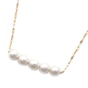 アコヤ真珠 ネックレス パールネックレス K18 ピンクゴールド 約5mm 約5ミリ珠 5個 あこや真珠 ペンダント シンプル パール 本真珠 - 拡大画像