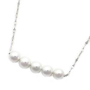 アコヤ真珠 ネックレス パールネックレス K18 ホワイトゴールド 約5mm 約5ミリ珠 5個 あこや真珠 ペンダント シンプル パール 本真珠 - 拡大画像