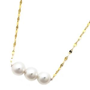 アコヤ真珠 ネックレス パールネックレス K18 イエローゴールド 約5mm 約5ミリ珠 3個 あこや真珠 ペンダント シンプル パール 本真珠 - 拡大画像