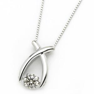 ダイヤモンド ネックレス プラチナ Pt900 0.3ct 揺れる ダイヤ ダンシングストーン ダイヤネックレス リボン ペンダント - 拡大画像