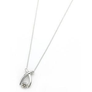 ダイヤモンド ネックレス プラチナ Pt900 0.3ct 揺れる ダイヤ ダンシングストーン ダイヤネックレス リボン ペンダント