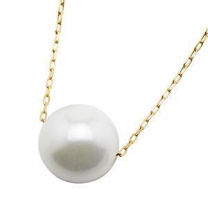 アコヤ真珠 ネックレス パールネックレス K18 イエローゴールド 8mm 8ミリ珠 40cm 長さ調節可能(アジャスター付き) あこや真珠 ペンダント パール 本真珠 - 拡大画像